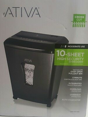 Ativa 10-Sheet Cross-Cut Paper Shredder