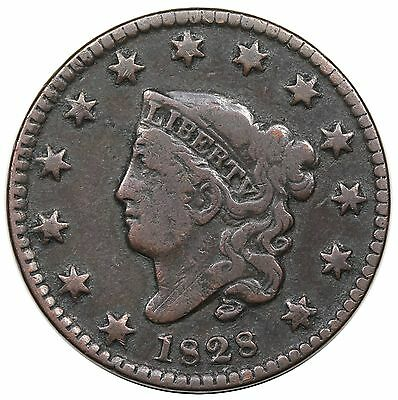 1828 Coronet Head Large Cent, Small Wide Date, N-10, F detail