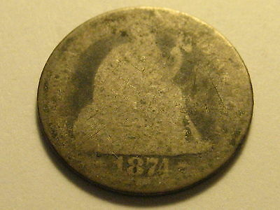 1874-P Arrows Seated Liberty Dime Weak
