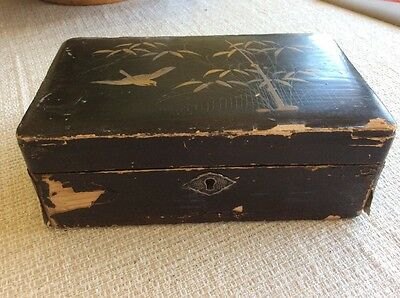 Antique Vintage Wood Hand Painted Rectangular Box