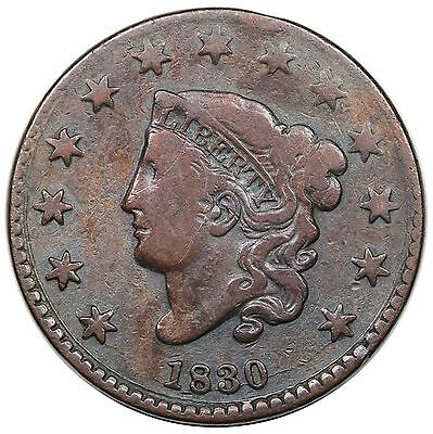 1830 Coronet Head Large Cent, Large Letters, N-3, R.3, rotated dies, F detail