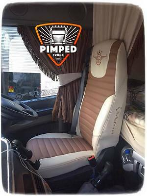 SEAT COVERS DAF 106 / DAF CF EURO6 ECO LEATHER Beige&LightBrown