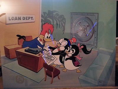 """""""Banker""""  Lantz Woody Woodpecker Animation Art Limited Edition Cel With Seal,COA"""