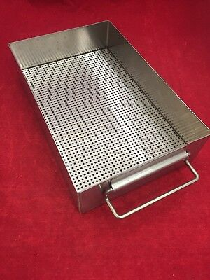 """Stainless Steel Instrument Tray w/Perforated Bottom & Handles 10""""x6.5""""x2.5"""""""