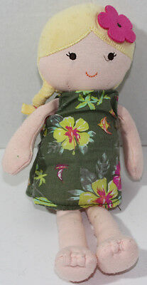Carters BLOND GIRL DOLL WITH GREEN FLORAL DRESS Stuffed Plush BABY SOFT TOY