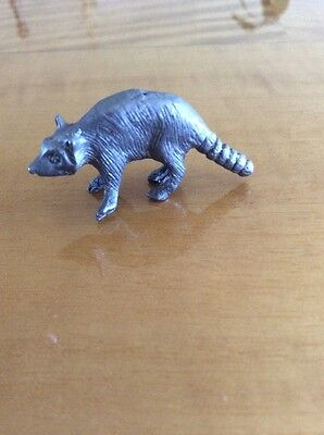 Vintage Pewter Raccoon Little Figurine Statue
