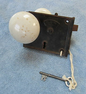 """An Antique Working Door Lock With Knobs And Key Marked """"b. L. W."""".. Check It Out"""