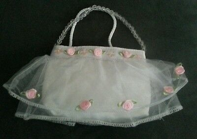 Little Girl's Purse with Tulle, Flowers, and Beaded Handle