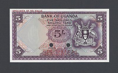 Uganda 5 Shillings ND 1966 P1ct Specimen Trial Color Uncirculated