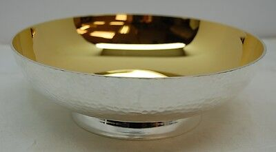 Bowl / Dish Paten Silver And Gold Plated - Hammered Finish  (Communion) 6 1/2""