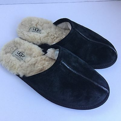 Men's UGG AUSTRALIA black Suede Leather Scuff Slippers 5776 SZ 8