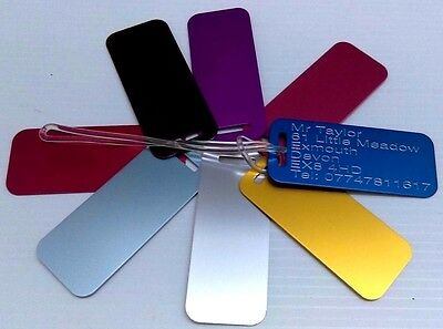 Personalised Suitcase Luggage Tags Bulk Buy X3 Labels Engraved-Free-75x32mm