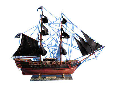 "Pirates of Carribean Tall Pirate Ship 37"" Built Wooden Model Boat Assembled"