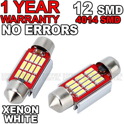 Ford Fiesta Mk 6 Mk6 License Number Plate LED Light Bulbs - Xenon White