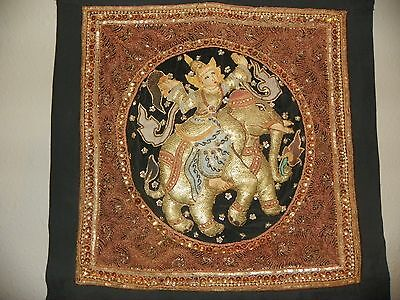 Vintage Southeast Asian; Burmese ? enbroidered tapestry; woman on elephant