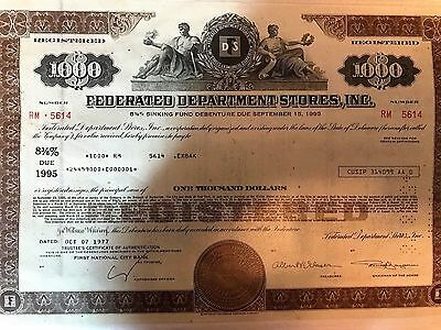 Federated Department Stores Stock Certificate 1,000 Shares - Now Macy's Rare!