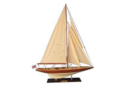 "America's Cup  Lionheart Sailboat 27"" Wooden Model Yacht Assembled"