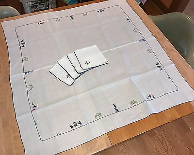 Exquisite Antique Chinese Rice Linen Tablecloth and 4 Napkins