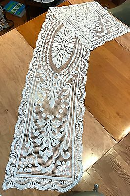 Antique Victorian Filet lace table runner