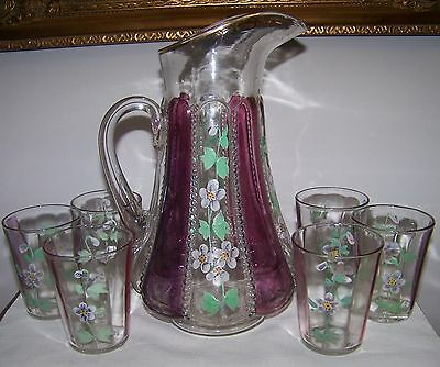 Victorian Amethyst Stained Beaded Panel 7 Piece Water Set W/ Floral Deco 1880's