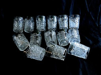 Antique Cut Glass Set Of 14 Water Glasses,four Deferent Patterns,all Hand Cut.