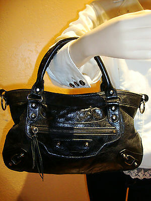 Balenciaga Black Leather Women's Shoulder Hand Bag Made In Italy