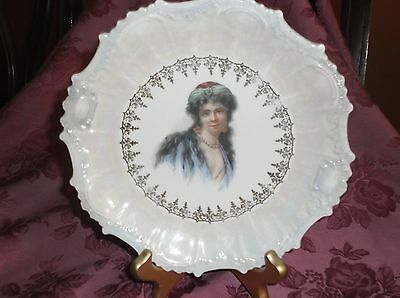 """Vintage Victorian """"young Lady"""" Porcelain Pictorial Plate"""