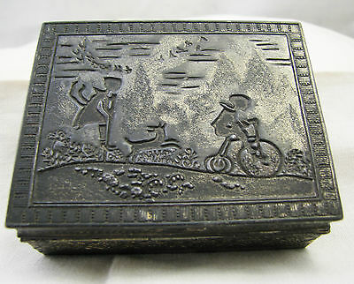Vintage Japanese Japan Trinket Box Metal Scene Child Dog Bicycle