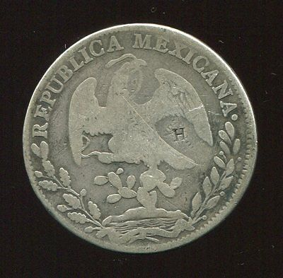 ** MEXICO 1838 MoML, 8 REALES ...'H' COUNTERSTAMPED IN REV. **