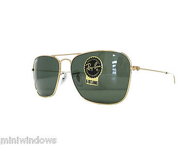 RAY BAN SUNGLASSES RB3136 001 Gold / Crystal Green 58mm NEW AUTHENTIC
