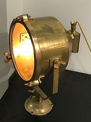 Vintage Brass Spotlight - Ship Salvaged - Restored, Rewired And Ready For Use!