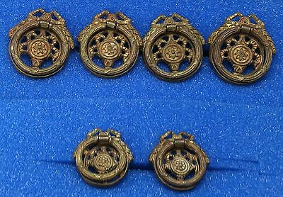 Antique 6 Pc. Round Bronze Dresser Drawer Pulls Hardware Frenchy Bows Swags