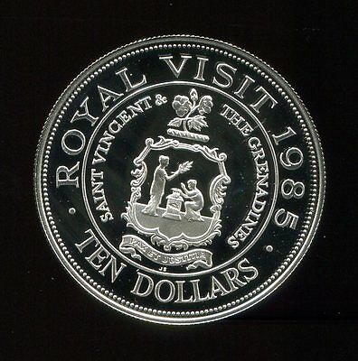 ** Saint Vincent Is. 1985 Royal Visit , 10 Dollars....proof Silver, Scarce **