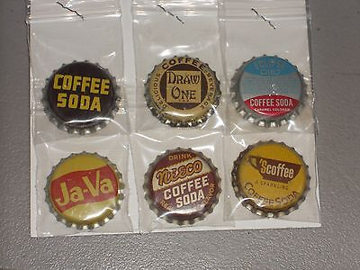 Six Different Unused Coffee Beverage Cork Lined Soda Bottle Caps