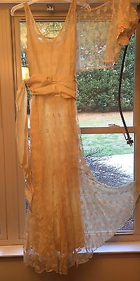 Exsquisite Antique Vtg Wedding Gown Dress & Jacket All Lace Lined Early 1900's