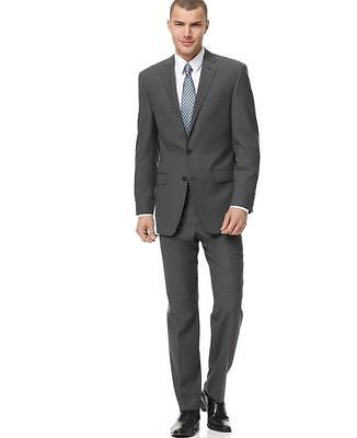 Calvin Klein Gray Wool Pinstripe Slim Fit Two-Button Suit Size 42S 36 NWT