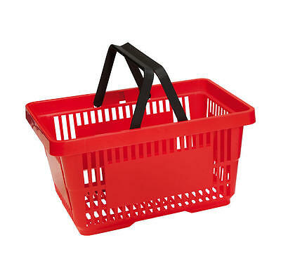 Plastic Shopping Baskets 4 Colours 2 Handles 5 & 10 packs 20 ltr Shopping Basket