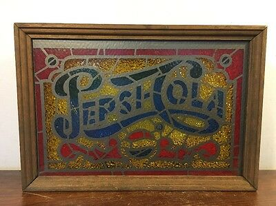 Vintage Pepsi Cola Stained Glass Light Works Soda Advertising Sign Man Cave