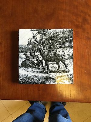 Antique 1879 Minton's China Works Stag With Herd 6 By 6 Tile