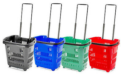 Plastic 34L Rolling Shopping Trolley Basket On Wheels for Shops & Supermarkets B