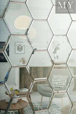 BOX OF 18 Hexagonal Silver Mirrored Bevelled Wall Tiles