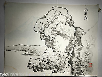 3 Original Japanese Sumi-E Painting Landscapes and Nature  artist unknown