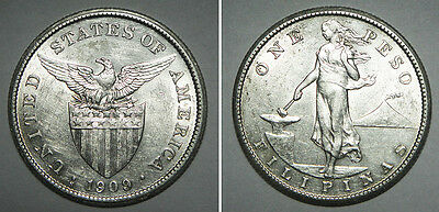 Philippines 1909 SILVER 1 Peso Coin CHOICE