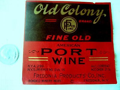 """Old wine bottle label """"OLD COLONY PORT WINE"""" Fredonia, N.Y."""
