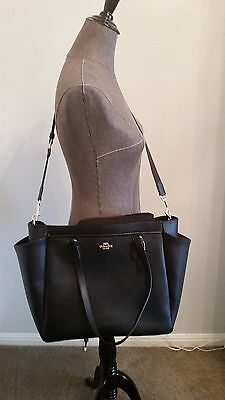 NWT COACH BLACK Multifunction Crossgrain Leather Baby Bag F57786