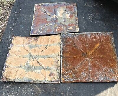 "3-24"" x 24"" Antique Ceiling Tin Tile Vintage Reclaimed Salvage Re Purpose Art"