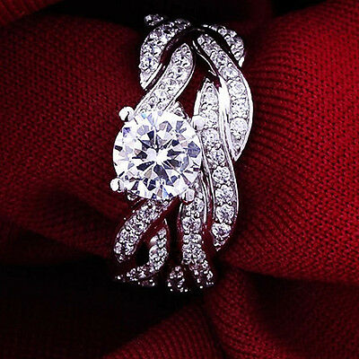 2 Pcs Women's Silver Plated Rhinestone Engagement Wedding Ring Set Natural