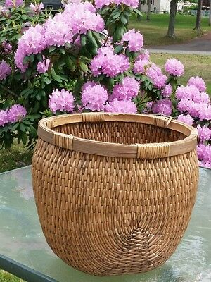 """Chinese Antique Natural,Willow Fishing,food Basket,1890s.rattan,15.5"""" x 14"""""""