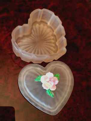Antique Pink Frosted Beveled Glass flower Jewlery Trinket Box