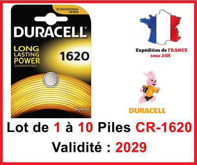 Lot de 1 à 10 Pile CR-1620 / DL-1620 DURACELL bouton Lithium 3V DLC 2026